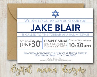 Bat mitzvah invite etsy bar mitzvah celebration invitation boy bar mitzvah ceremony invite star of david invitation 7x5 or 6x4 personalized digital download solutioingenieria Gallery