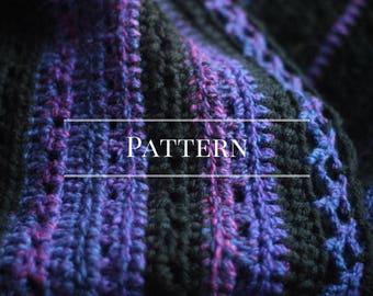 Crochet Blanket Pattern, Purple and Black crochet throw