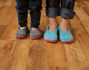 Crochet Slipper Pattern - Baby Booties Child Slippers - Little Oma Slippers