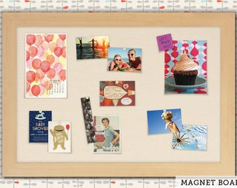 Magnetic Bulletin Boards | Framed Magnet Boards | Magnet Board | Decorative Magnet Boards - Maple Frame + Cream Fabric