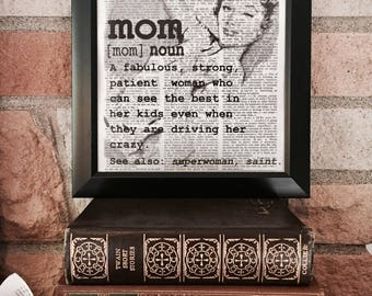 Mom - Mother's Day Dictionary Page Wall Art - Defined See Also Saint Superwoman - Gift for Mom Gift for Mothers Gift for Stepmom