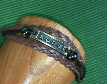 Hope Leather Bracelet - Brown Bracelet -Positive Bracelet Hope Multistrand Bracelet - Hope Braided Bracelet - Hope Plaque Engraved Bracelet-