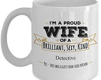 Gift For Detective, Detective Mug, Wife Coffee mug, Gifts For Wife, Wife gifts, Gifts For her, Husband to wife gift, Anniversary Gift