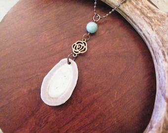 Deer antler jewelry, deer antler necklace, boho necklace, bone necklace, rustic necklace, long necklace, antler jewelry