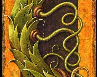 Fantasy science art print, Goodly Tendril Twist: Surreal botanical torso stem of steampunk robot dragon creature, Oddity curiosity