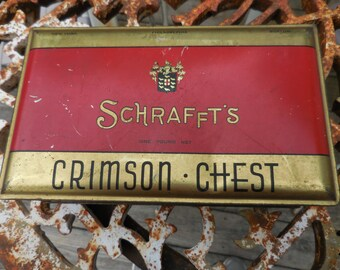 Vintage 1930s to 1940s Schrafft's Crimson Chest Metal Hinged Tin Box Collectible Red/Gold Candy Tin Art Deco New York/Philadelphia/Boston