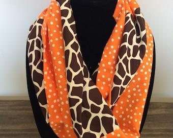 Giraffe theme infinity scarf, giraffe scarf, giraffe accessories
