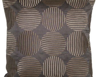 """Embroidered Cushion Cover Grey Circles 16"""" Square"""