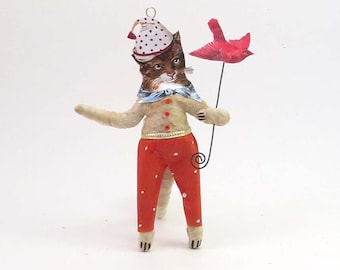 Vintage Inspired Spun Cotton Bird Catching Kitty Cat Figure/Ornament (MADE TO ORDER)