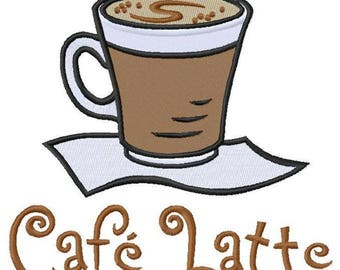 Cafe Latte Embroidered on Hand Towel or Tea Towel