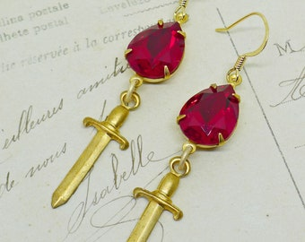 Blood Drops and Daggers // 1950s Swarovski Crystal Drop and Vintage Brass Dagger Earrings, Siam Macabre Gothic Goth Occult Love Witch Boho