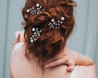 """Bridal Hair Pin, Beaded Hair Pin, Wedding Hair Pin, Hairpin, Bridal Accessories """"Delilah"""" Pin in Silver, Opal, Gold or Rose Gold"""