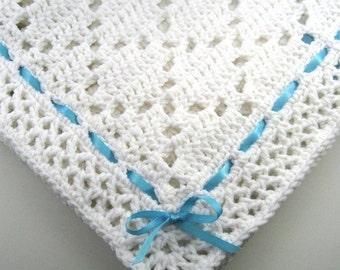 PDF Pattern Crocheted Baby Afghan, DIAMOND LACE Baby Afghan Blanket Pattern