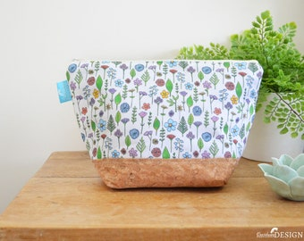 Wildflower Wash bag, Vegan Leather Bag, Vegan Leather Clutch, Toiletry Bag, Nappy Bag, Cosmetic Bag, Cork Leather, Zipper Bag, Floral Gift