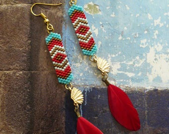 Native American earrings - tribal native american - navajo - Indian headdress - country - turquoise - feathers - southwestern - native