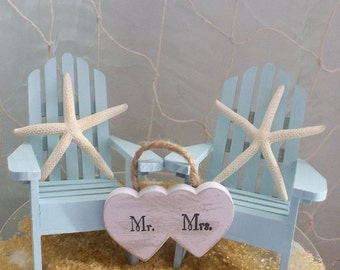 Beach Wedding Cake Topper, Adirondack Chair, Beach Wedding, Destination Wedding, Wedding Cake Topper, Beach Theme, Coastal Wedding, Mr & Mrs