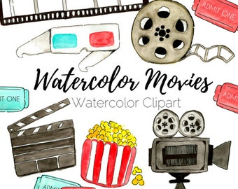 Movie Clip Art - Watercolor Clip Art - Cinema Clip Art - Hand Drawn Clip Art - Commercial Use