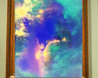 Fierworks-original abstrakte Kunst auf Papier, Acryl-Gemälde, zeitgenössische Kunst, Giclée Druck, moderne blau gelb Malerei, Wand-Kunst, Papier