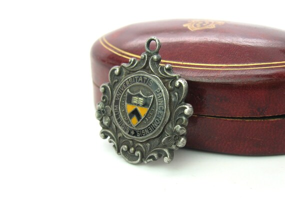 Antique 1900's Princeton University Seal Sterling Silver Enamel Fob Pendant