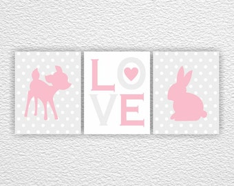 INSTANT DOWNLOAD Pink and Gray Fawn and Rabbit silhouette Love Baby Girl Room Playroom Wall art decor Set of 3, 8x10, Nursery Printable