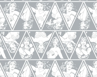 Wonder Woman Fabric DC Comics Gray Triangles Camelot Cotton Super Hero Fabric