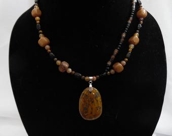 Jasper Necklace with Floating Strand and Pendant