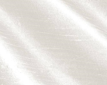 WHITE SILK fabric, by the yard, poly dupioni silk, upholstry, home decor, interior decor, yardage, fabric, textile, snow white, pearl