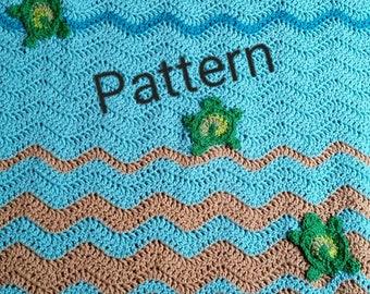 Crochet sea turtle blanket pattern, crochet blanket pattern, crochet pattern, crochet baby blanket, sea turtle gift, beach lovers gift
