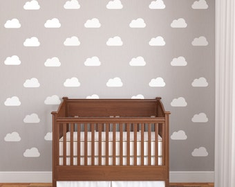 25 White Nursery Clouds Vinyl Wall Decals, Removable