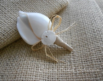 Deluxe Canarium Seashell Groom Groomsmen Wedding Boutonniere in Tan,Button Hole