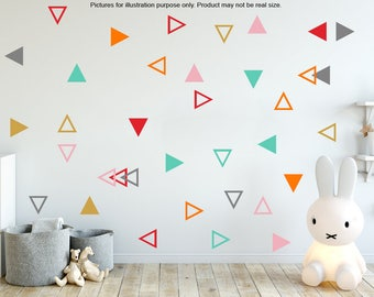 Triangle stickers, Combo triangles, Outlined Triangle wall decal, Removable Triangle wall stickers, Geometric shape sticker, nursery sticker