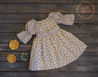 12 Month Beige and Brown Floral Peasant Dress