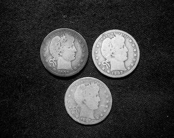 1907 P-D-O Barber Quarter Trio Silver #1 Good- Fine Condition