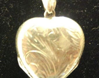 Vintage Sterling Silver Double Photo Locket with Necklace -- Valentine's Day Gift