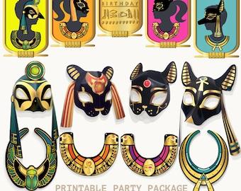 Kids Printable Egyptian Birthday Party Decor Set God Mask Bastet Anubis Ra Ancient Egypt Goddess