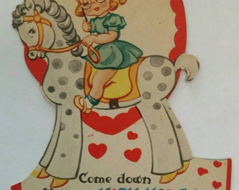 Vintage 1940s Paper Valentine with Girl and Horse