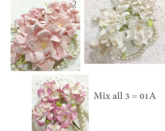 10 Variations Listing of Big Curly Gardenia Mulberry Paper Flowers Scrapbooks Wedding Cards Dolls Crafts Roses GB4(A)