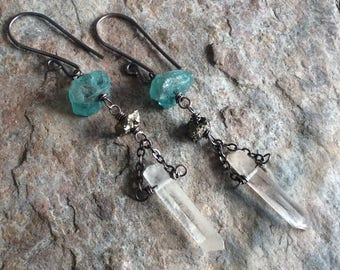 RAW APATITE earrings, with raw Pyrite and raw Crystal Quartz points, raw Quartz, raw gemstone, handmade earrings, sterling silver earrings