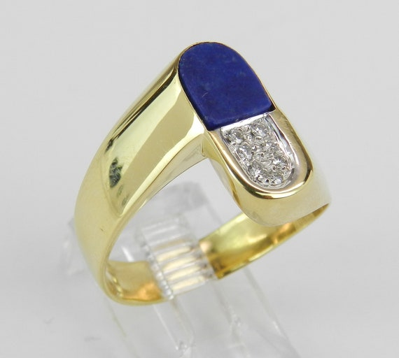 Vintage Antique 18K Yellow Gold Unisex Diamond and Lapis Lazuli Ring Size 9.5