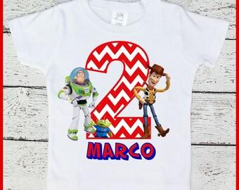 Custom Personalized Boys Toy Story Woody and Buzz Lightyear Birthday tee shirt