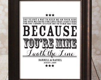 Because You're Mine, I walk the Line - Johnny Cash - Typographic Art Print - Country Song Lyrics. CUSTOM with Names and Date of Wedding.