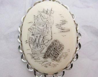 vintage scrimshaw composite schooner sailboat at sea nautical scene brooch pin - j5751