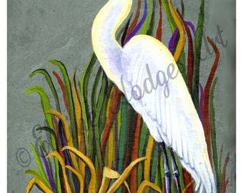 Snowy White Egret Marsh Print from Original Painting
