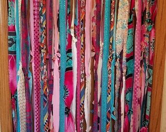 Bohemian Door Curtains Boho Door Curtains Aqua Fuchsia Pink Sparkles Curtains Gypsy Curtains