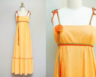 Vintage 70s Orange Floret Maxi Dress | Gauzey Floor Length Sundress | Empire Waist | Sz Small