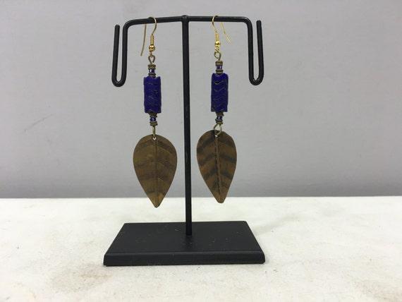 Earrings African Brass Leaf Blue Glass Earrings Masai Beaded Earrings Handmade Brass  Blue Glass Women Earrings Tribal E47