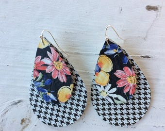 Teardrop leather earrings, floral and striped black leather teardrop earrings, floral, black and white layered leather earrings