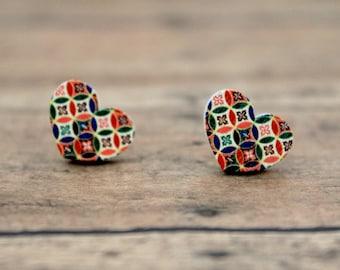 Multi Color Heart Wood Stud Earrings