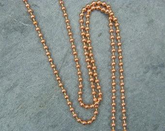 Copper ball chain ~ Copper necklace ~  2 mm ball chain ~ 100% Solid copper chain ~ Bare copper chain ~ Antique copper chain ~ UK supplier ~