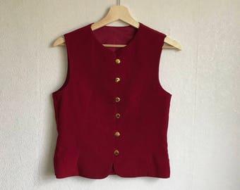 Hot Red Vest Women Romantic Country Waistcoat Elegant Vest Small Size